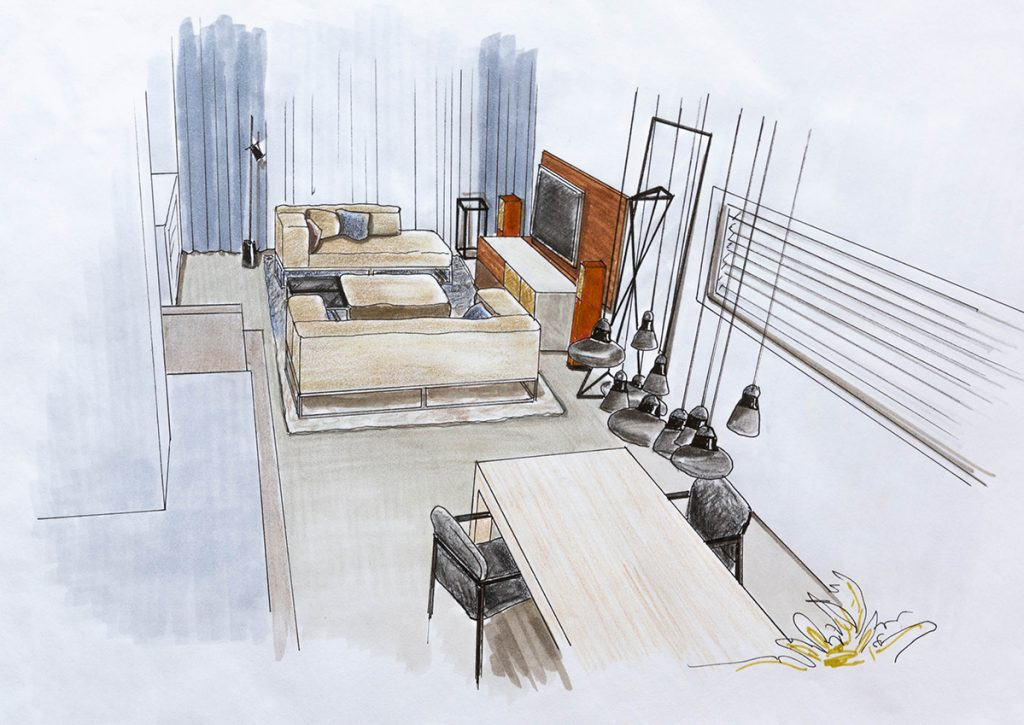 Perspectieftekening Italiaans Design Interieur Leiden