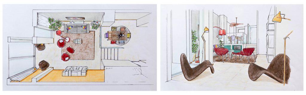 Tekeningen opstelling 1 Interieurontwerp in Leiden