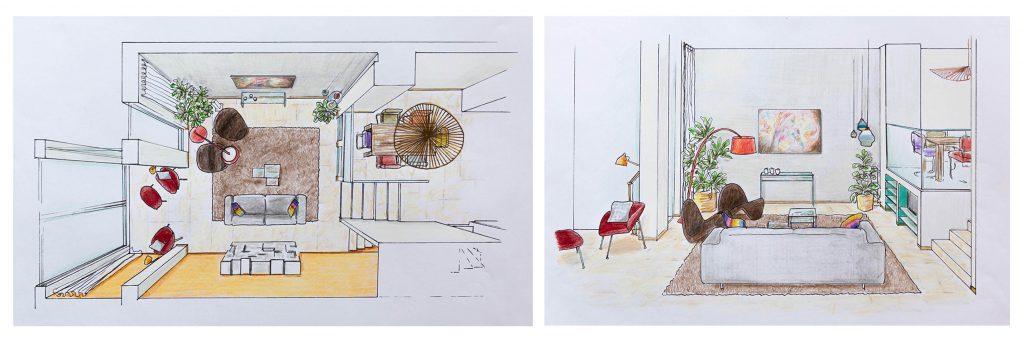 Tekeningen opstelling 2 Interieurontwerp in Leiden