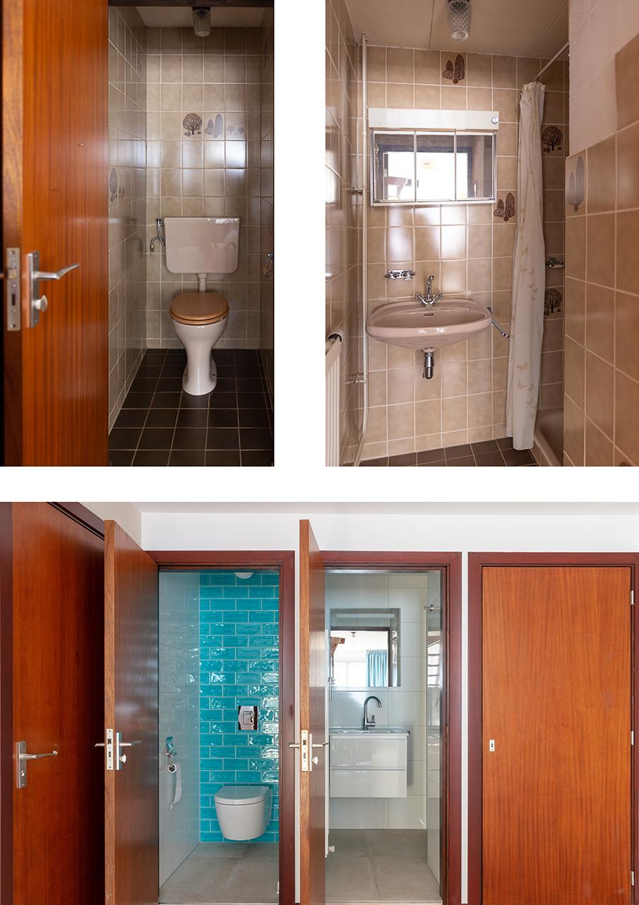 Voor en na-foto van de douche en wc