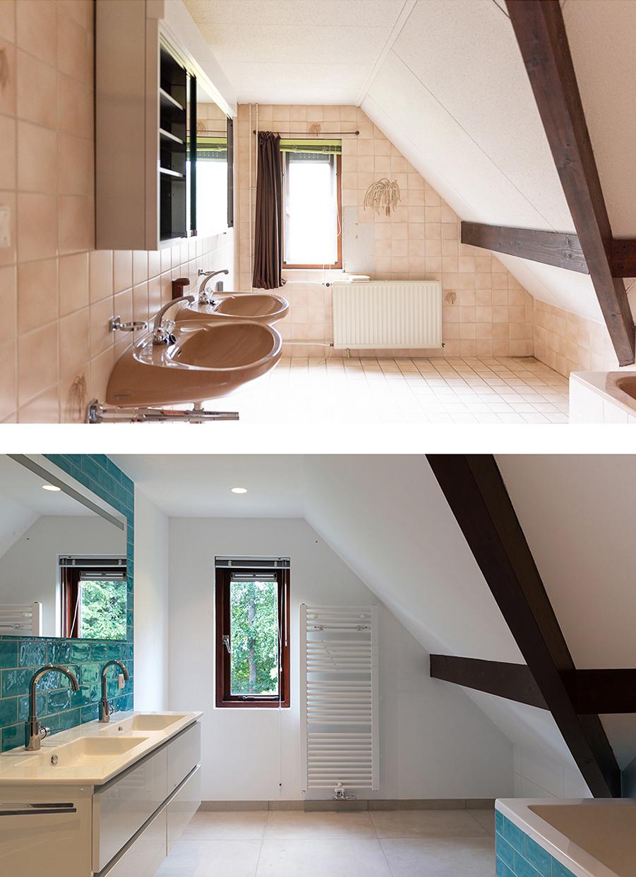 Voor en na-foto van de badkamer