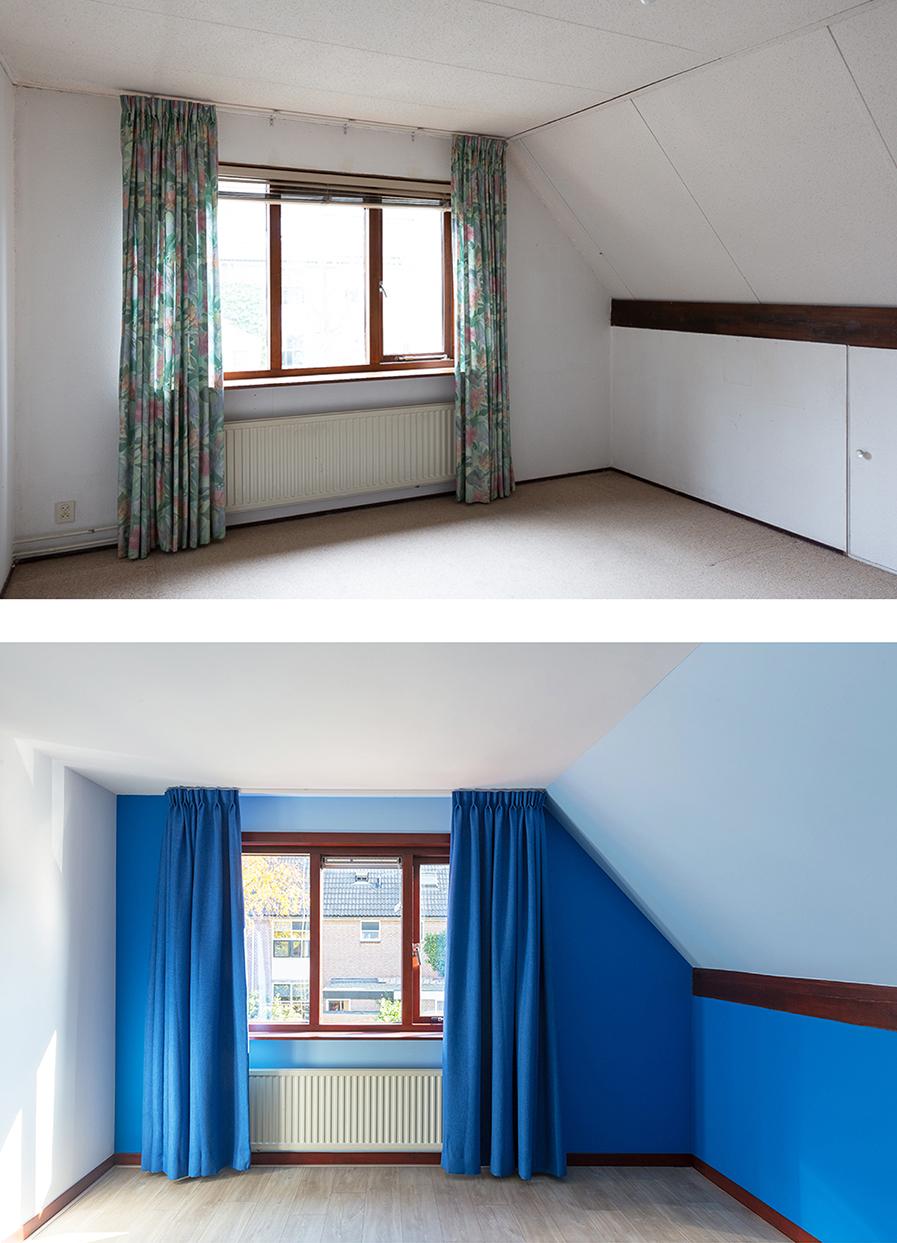 Voor en na-foto van de jongenskamer