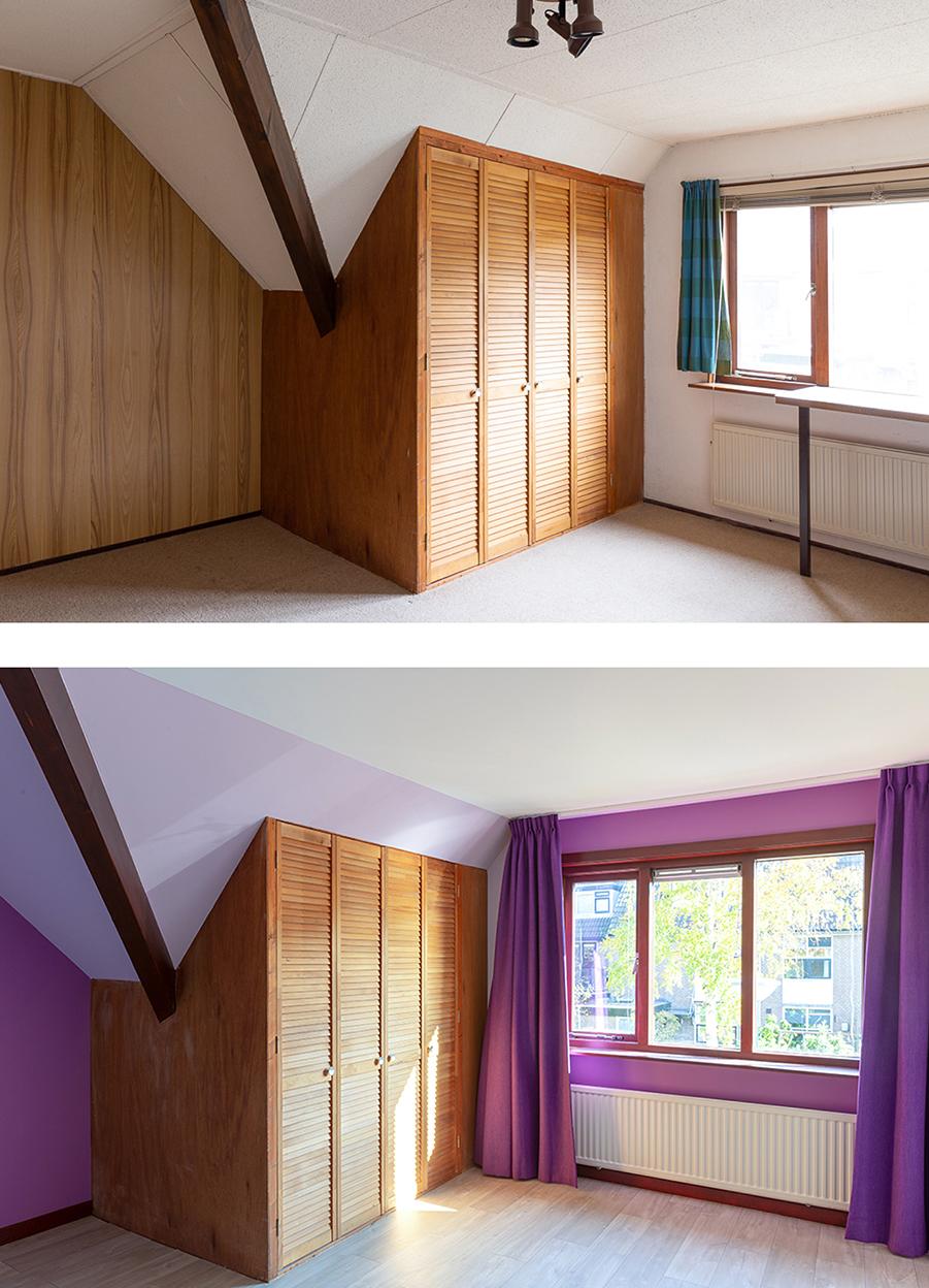 Voor en na-foto van de meisjeskamer