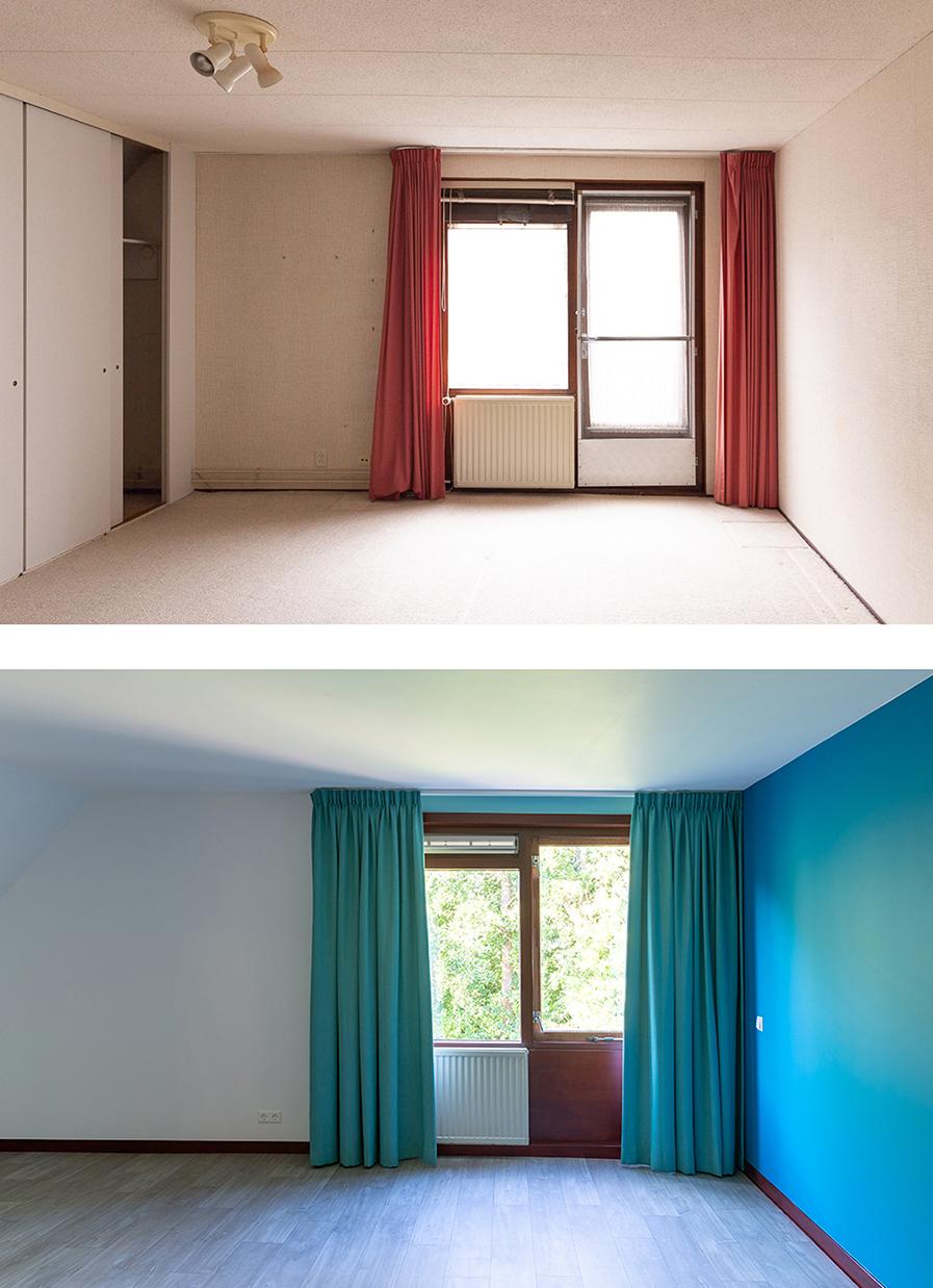 Voor en na-foto van de ouderslaapkamer