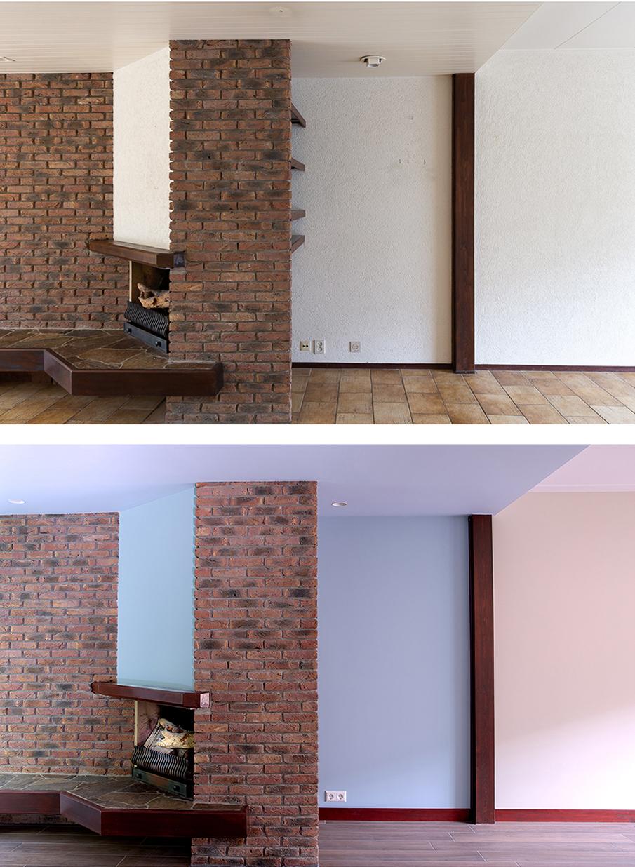 Voor en na-foto van rondom de haard