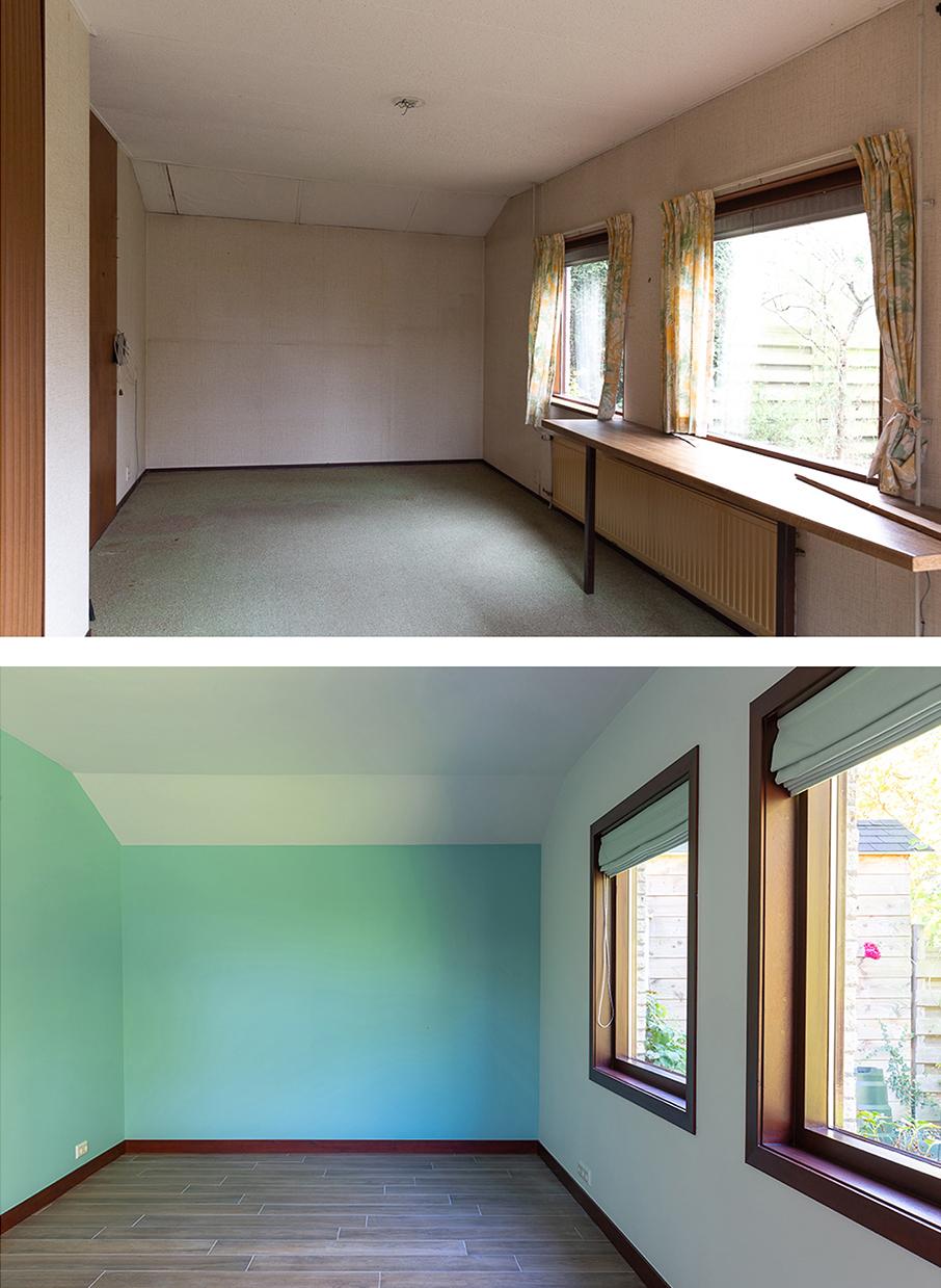 Voor en na-foto van de speelkamer