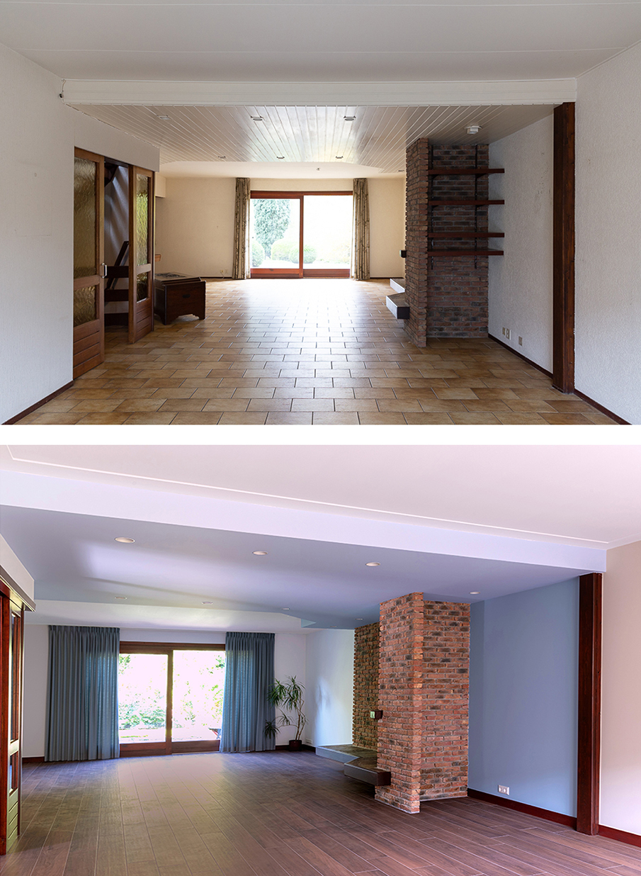 Voor en na-foto van de woonkamer, achter