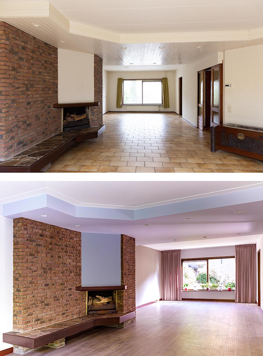 Voor en na-foto van de woonkamer, voor