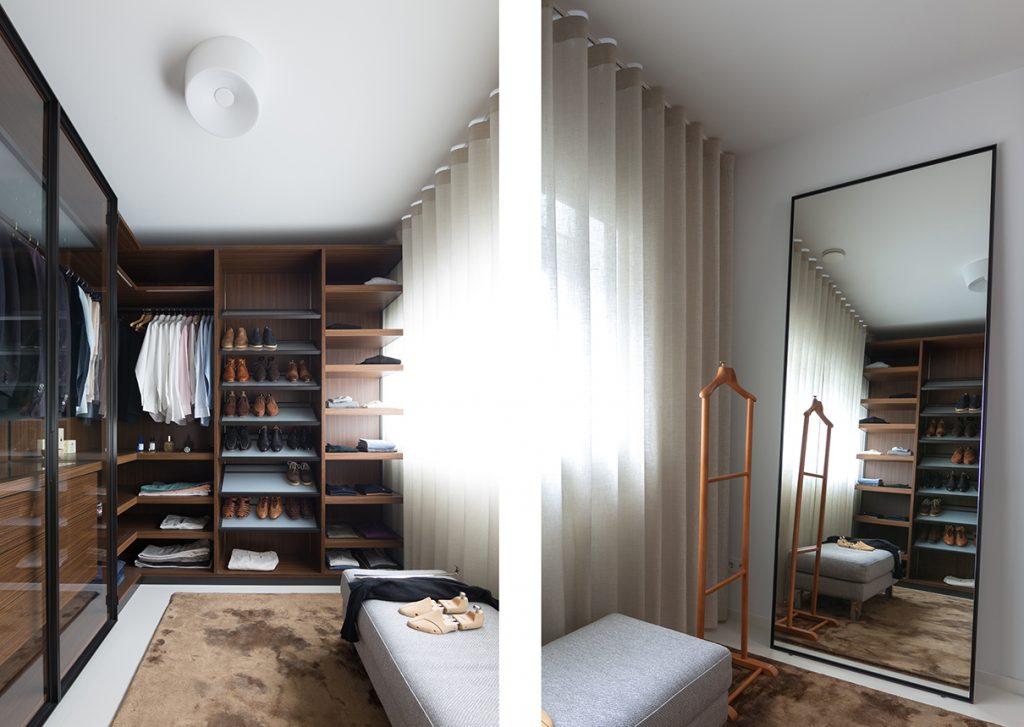 Porro kast en spiegel in de kleedkamer Italiaans Design  interieurontwerp Nieuw Leiden