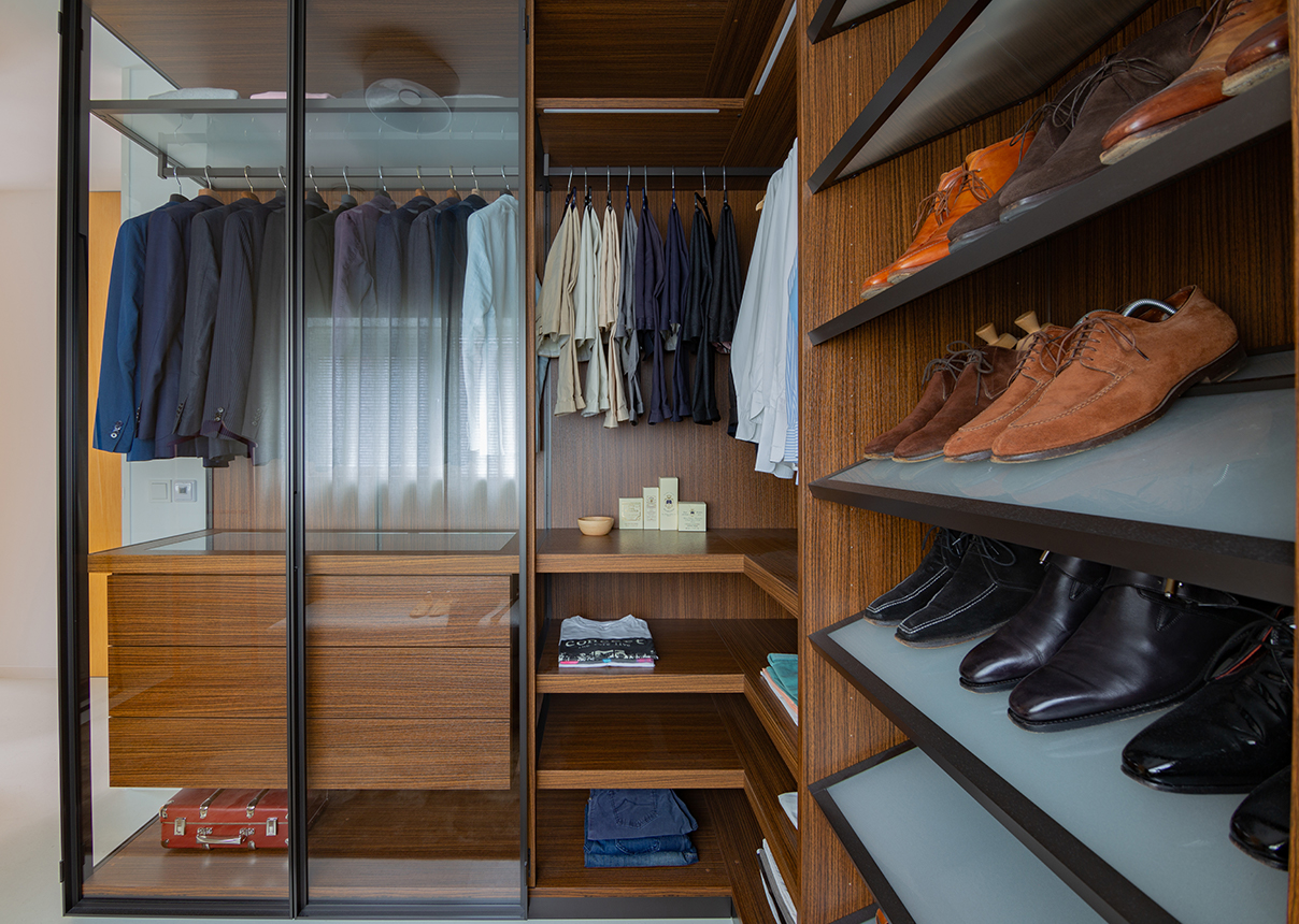 Close up Porro kast Walk in closet Interieurplan Nieuw Leiden